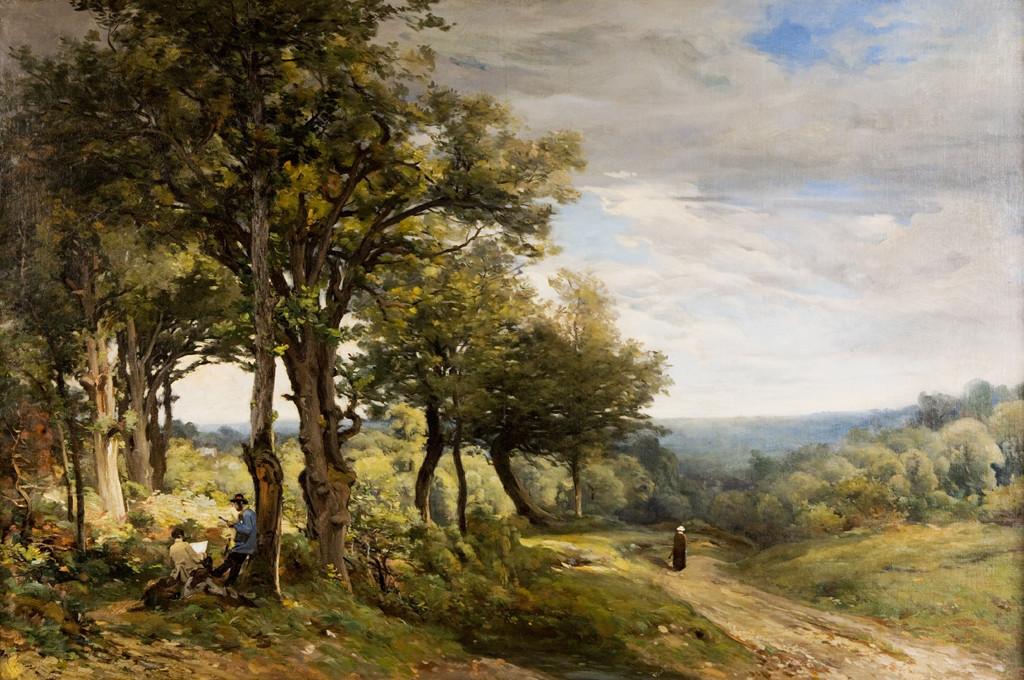 Armand Cassagne - Inv. 395 -  Lecture du journal en forêt