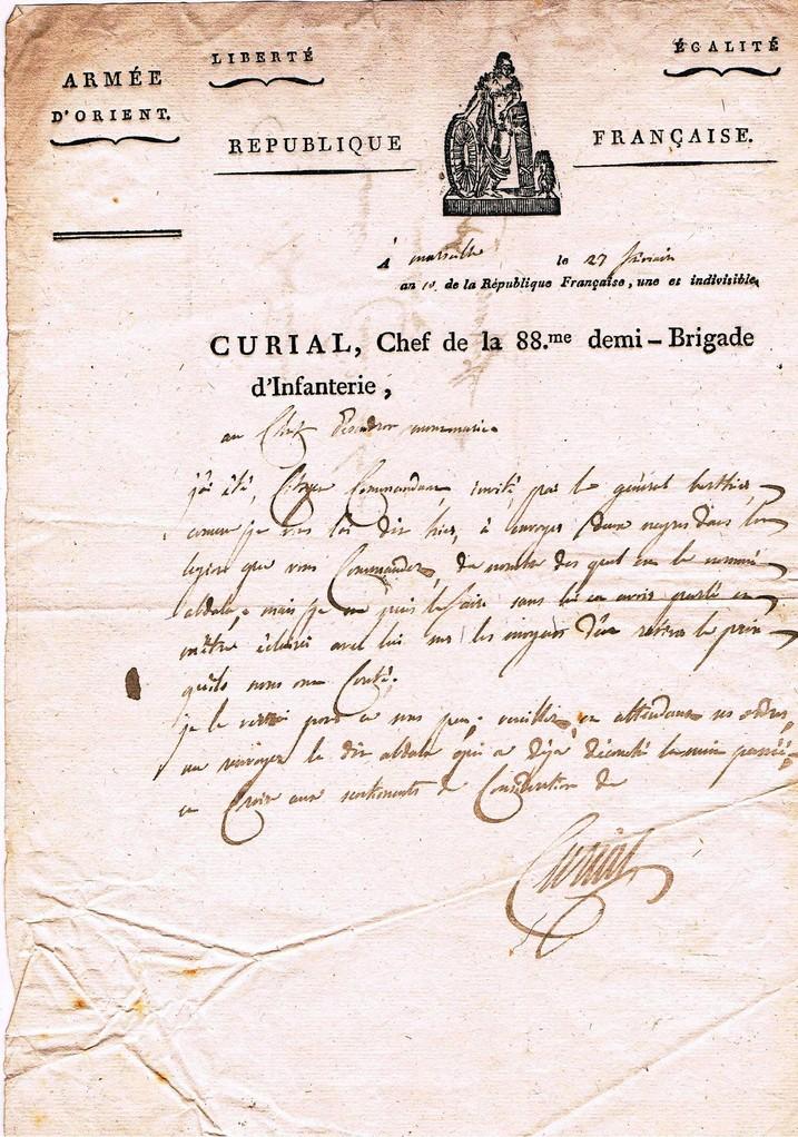 Lettre du Général CURIAL : Recto  l'an 10 de la République (1802)