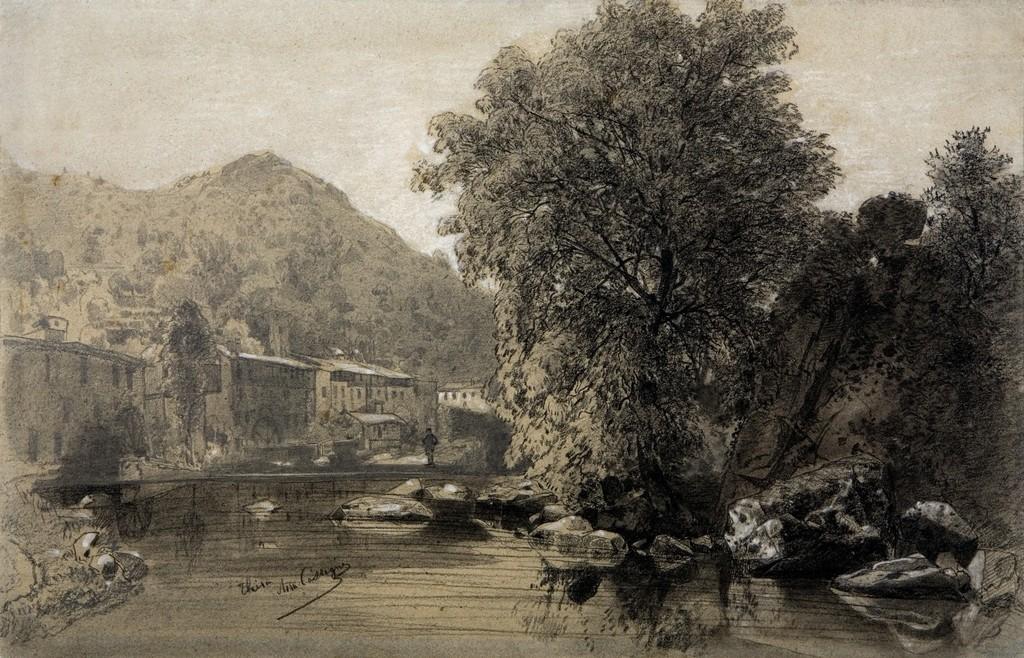 Armand Cassagne inv 738 - Bords de la Durolle à Thiers (Auvergne). dessin