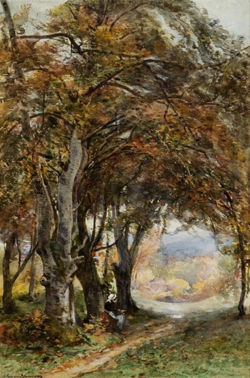 Armand Cassagne inv 320  Le Mont Ussy, vue sur Avon.aquarelle