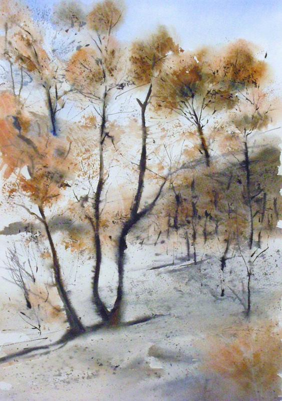 La pinède après l'incendie - n°4 - 37.5x54.5   Collection privée(2011)