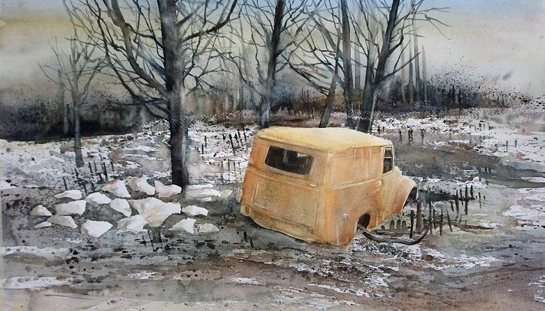 Carcasse incendiée