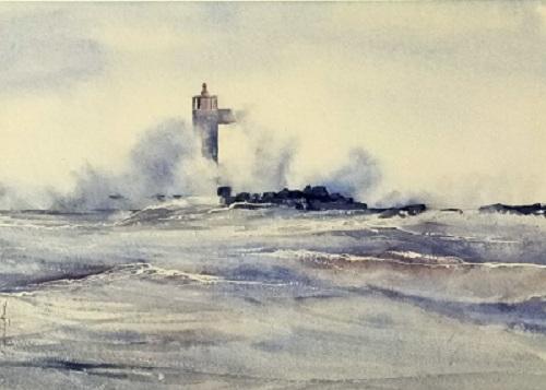 Tempête au phare de Gruissan  * 30,5x43 (2020)