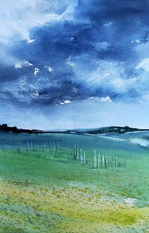 Ciel d'encre sur le coteau  (2020) 18x28*