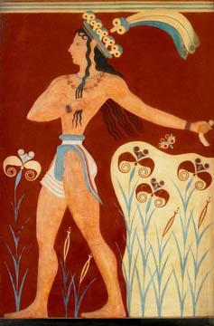 El príncipe de los lirios. 1500 a.c. Procedente del Palacio de Cnossos.