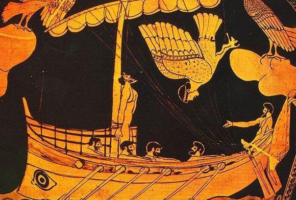 Ulises atado al mastil de su barco.