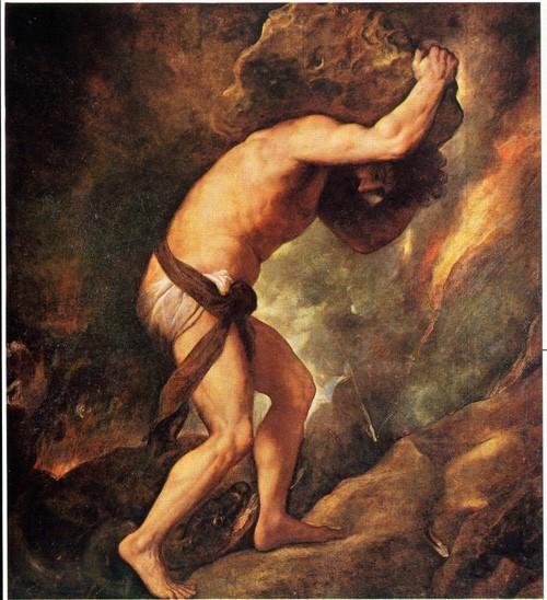 El mito de Sísifo. Tiziano (1548-49).