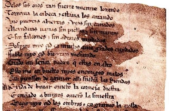Fragmento del manuscrito del Cantar de Mio Cid custodiado en la Biblioteca Nacional de Madrid.