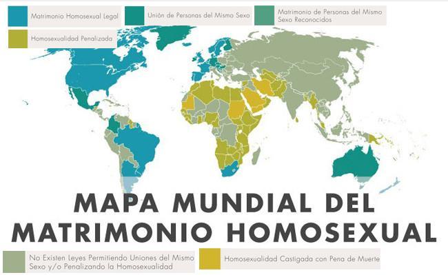 Mapa mundial del matrimonio homosexual