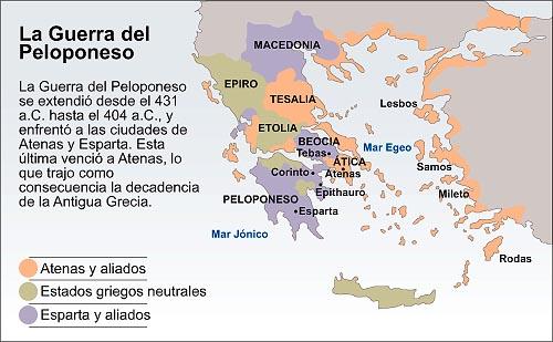 Mapa de los estados griegos en la guerra del Peloponeso.