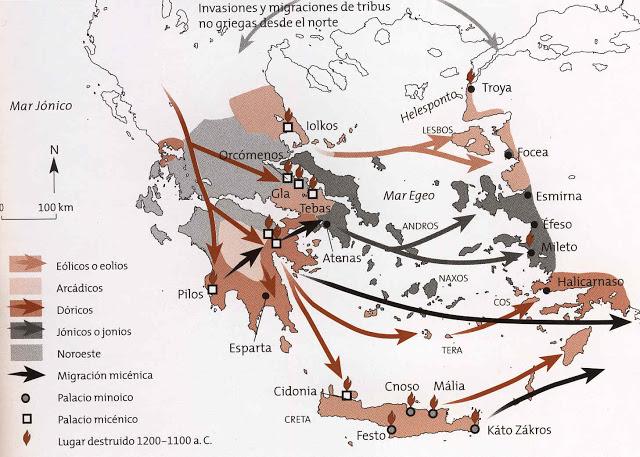 Migraciones de dorios, jónicos y eolios.