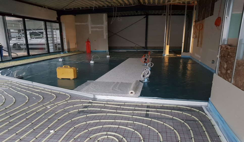 Baustelle in Parsberg, Estricharbeiten 2017