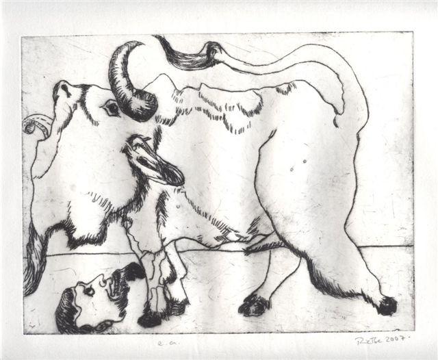 Brüllender Stier vor Maske 2007