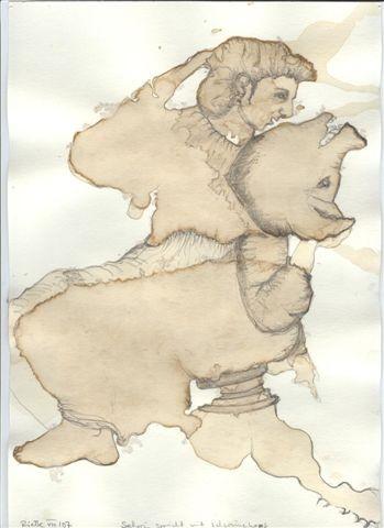 Seherin spricht mit Schweinekopf