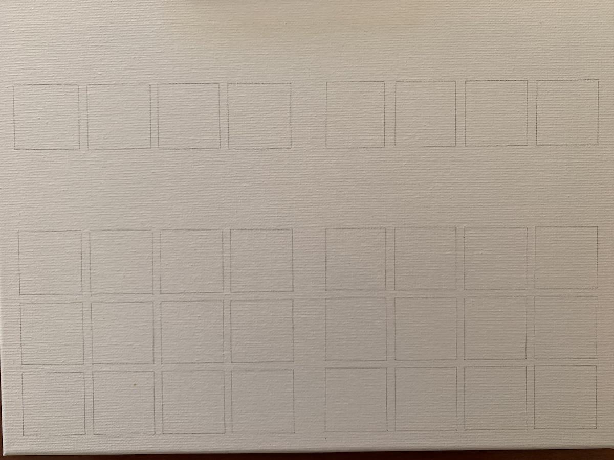 Zeichne Quadrate auf die Leinwand.