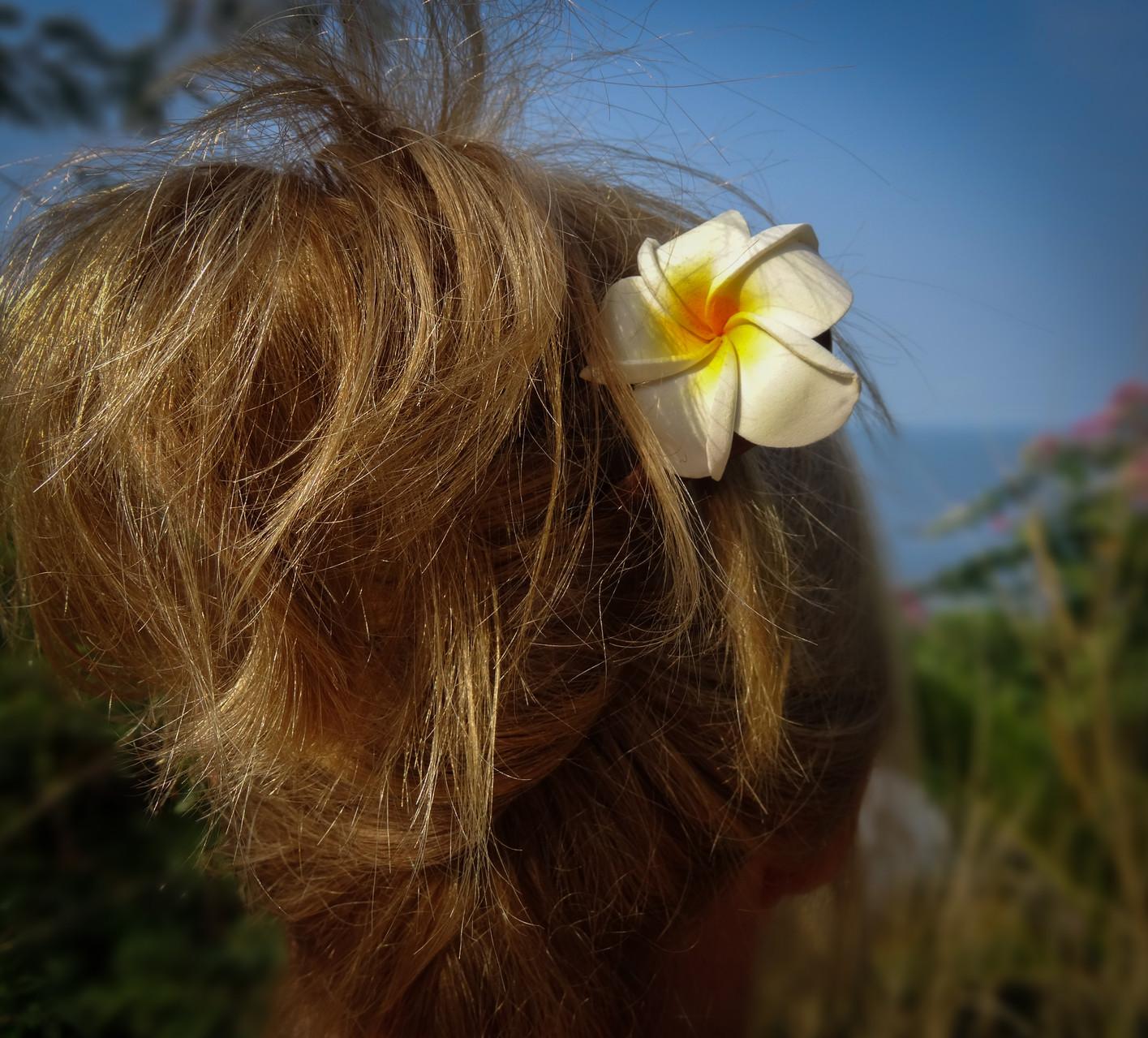 Pic double en bois avec fleur de frangipanier en tissus/ double stick with fabric frangipani flower