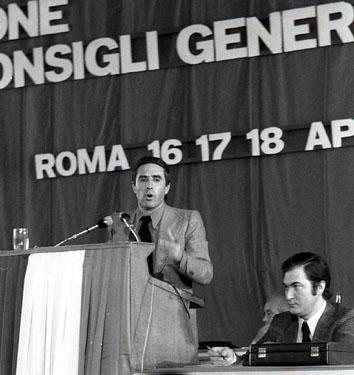 Roma, Aprile 1975 - Franco Marini ai Consigli Generali Cgil Cisl Uil