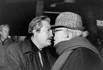 Roma, Febbraio 1989 - Marcello Mastroianni e Federico Fellini