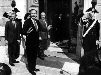 Roma, Maggio 1989 - Presidente George Bush in visita a Palazzo Madama