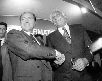 Roma, Aprile 1994 - Silvio Berlusconi con Marco Pannella alla Convenzione Nazionale Riformista