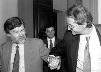 Roma, Settembre 1995 - Sergio Cofferati e Fulvio Vento Segretario Regionale Cgil Lazio (diventerà Presidente Acea)