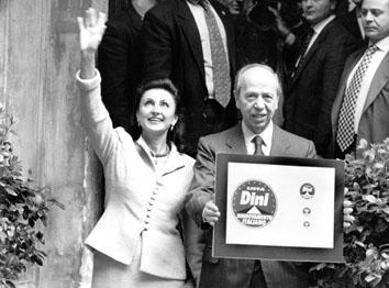 """Roma, Marzo 1996 - Lamberto Dini e Signora, presentano il simbolo """" Rinnovamento Italiano"""""""