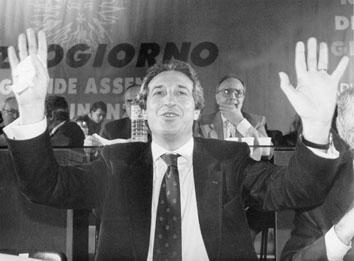 Roma, Novembre 1994 - Sergio D'Antoni all'Assemblea delegati Cgil Cisl Uil