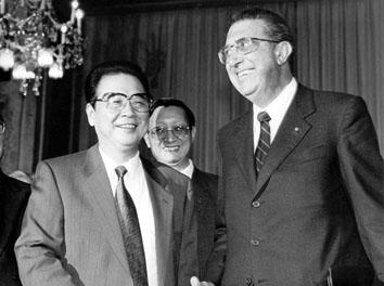 Roma, Gennaio 1992 - Incontro Li Peng (Presidente Cina) con Franco Nobili