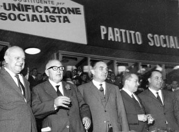 Roma, Maggio 1967 - Francesco De Martino, Pietro Nenni,Tinassi, Giacomo Brodolini e Antonio Cariglia al Congresso Unificazione Socialista