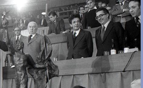 Roma, Marzo 1975 - Enrico Berlinguer,Armando Cossutta e Luigi Petroselli al 14° congresso Pci