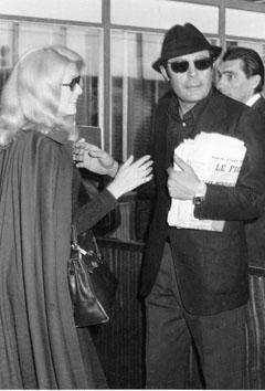Roma, Novembre 1970 - Catherine Denevue con Marcello Mastroianni