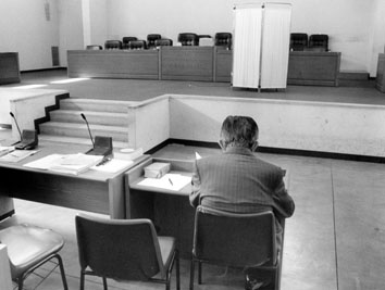 Roma, Luglio 1997 - Giulio Andreotti al processo nell'aula bunker di Rebibbia