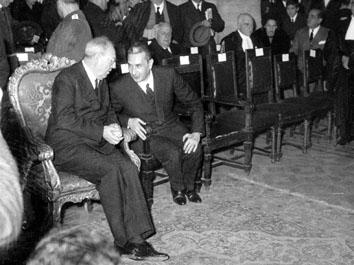 Roma, Gennaio 1965 - Giuseppe saragat e Aldo Moro all'apertura Anno Giudiziario
