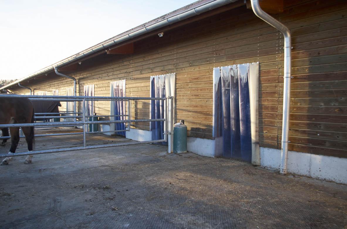 Tränkebecken und PVC-Lamellenvorhang.