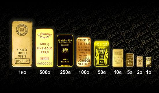 Goldbarren verschiedener Stückelungen, Punzen und Stempel. Quelle: gold-bars-blog