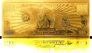 Eine vergoldete Dollarnote