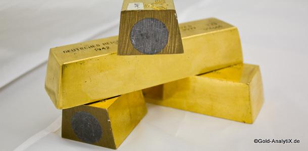 Goldbarren mit Wolfram Kern