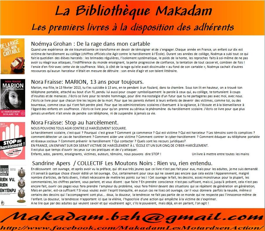 MAKADAM - Les Motards en Action harcèlement