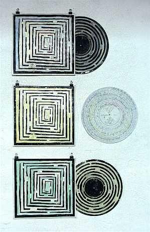 Tonträger - 2003, Linoldruck, Wasserfarben, Bleistift auf Vinylschallplatten und Schallplattenhüllen
