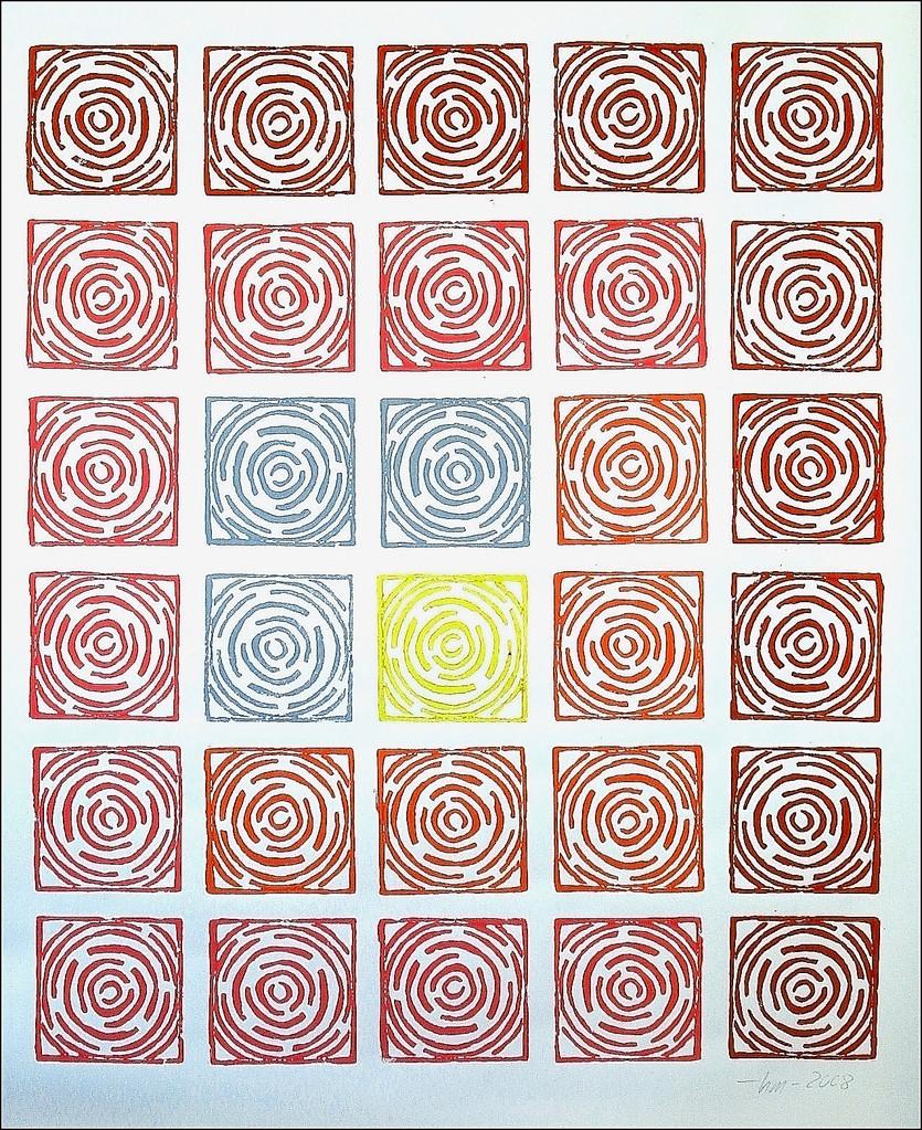 Wege I - 2008, Linoldruck, 95 x 80 cm