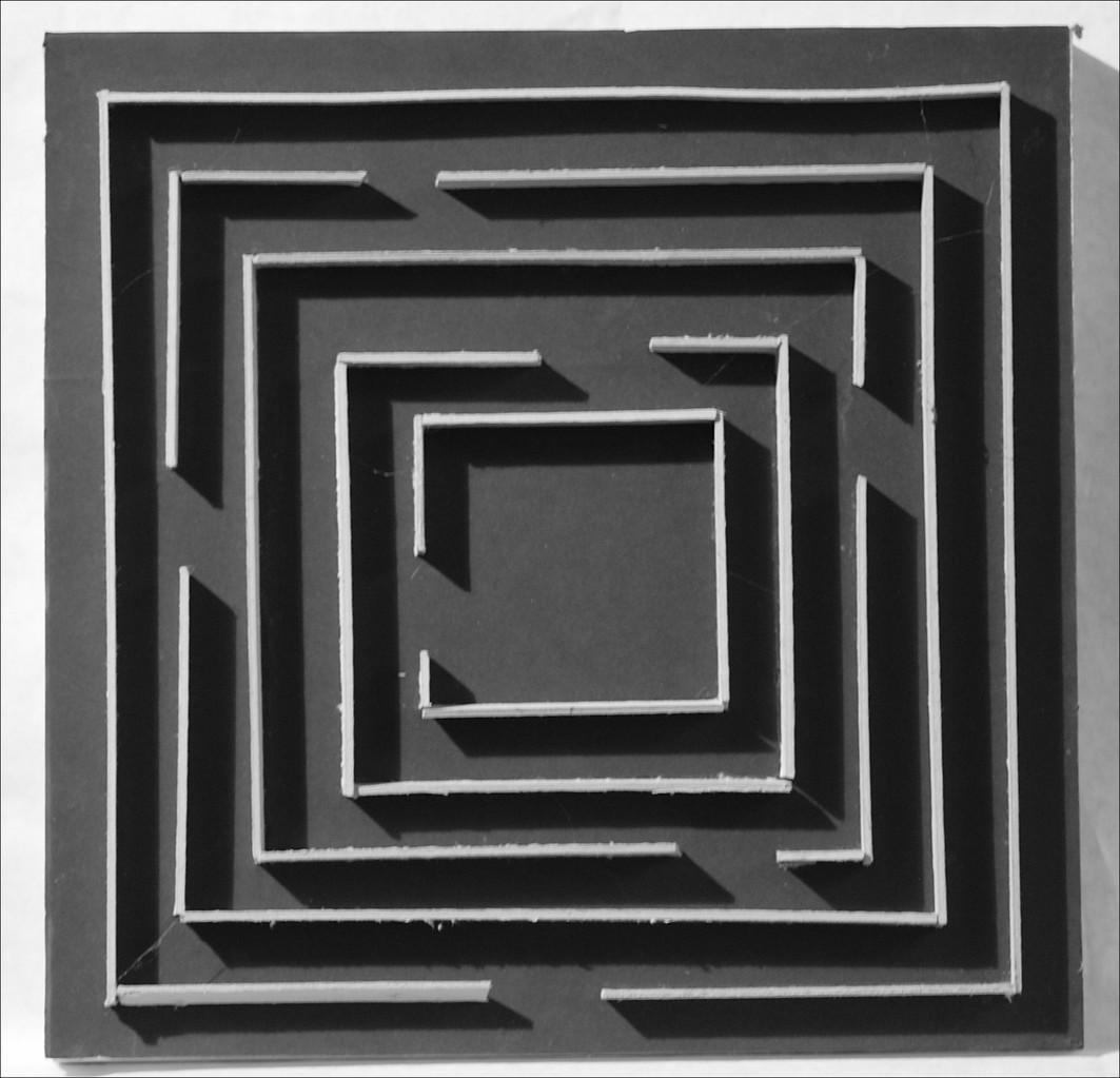 Ohne Titel - 2004, Pappe auf Holz, zweiteilig, 30 x 30 cm