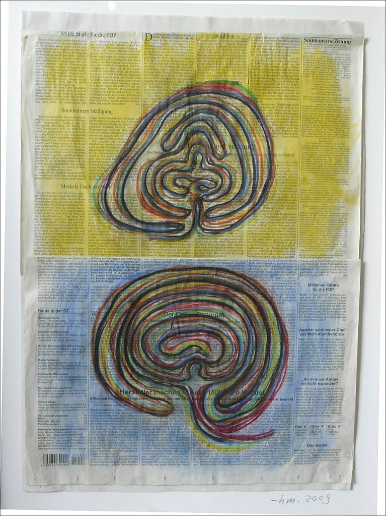 Zwei Wege - 2009, Pastellkreide auf Zeitung, 70 x 50 cm