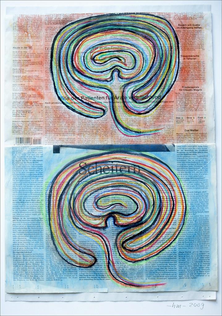 Ein Weg - 2009, Pastellkreide auf Zeitung, 70 x 50 cm