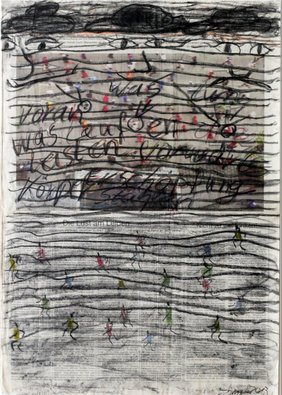 weiter - 2013 - Kohle, Pastellkreide auf Zeitung - 57 x 40 cm