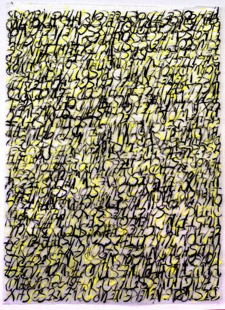 ohne titel - 2018 - Handschrift in Acryl u. Filzstift auf Noppenfolie - 168 x 120 cm