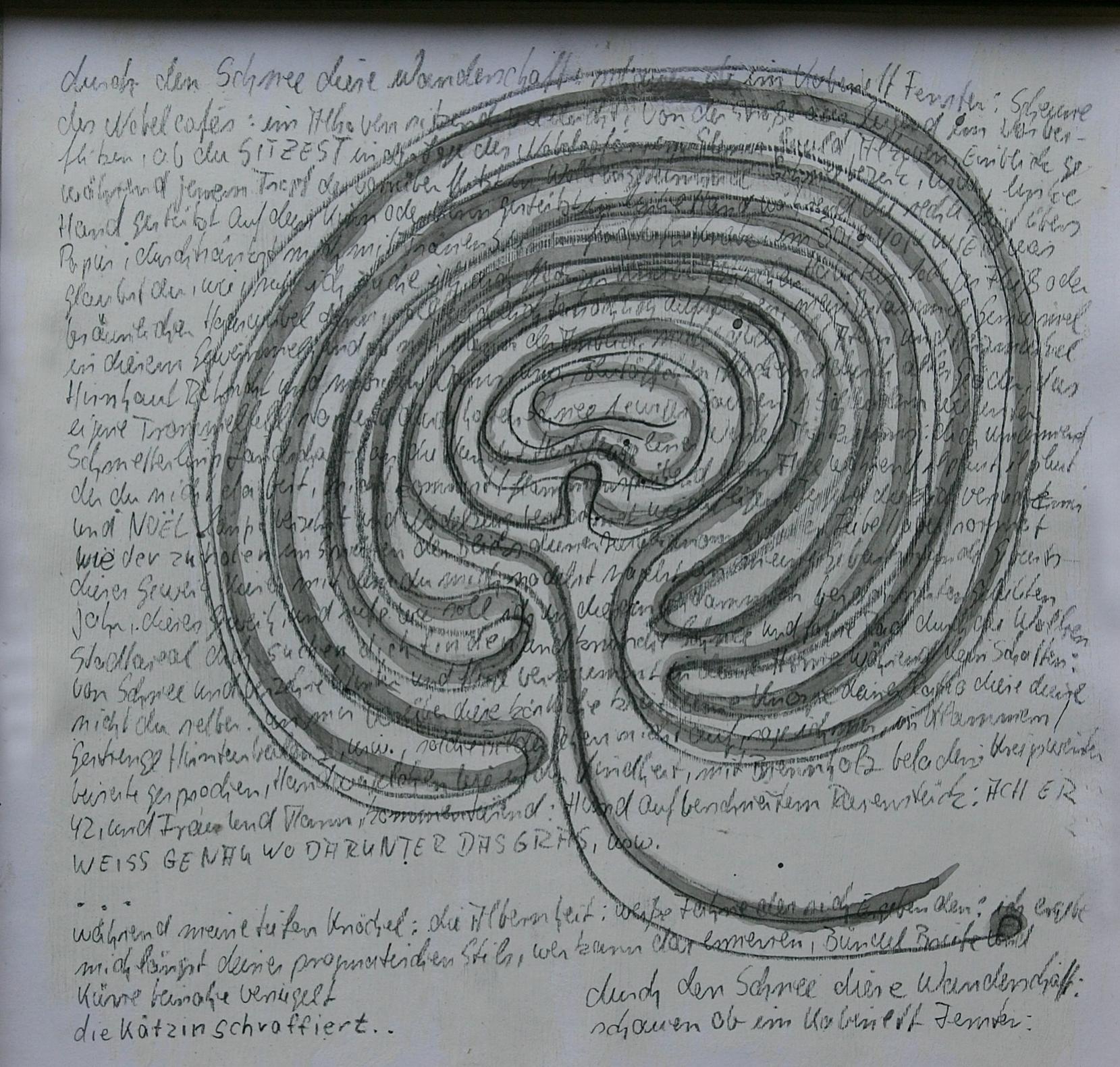 Notizen - 2009, dreiteilige Serie, Bleistift, Tusche auf Papier, 30 x 30 cm