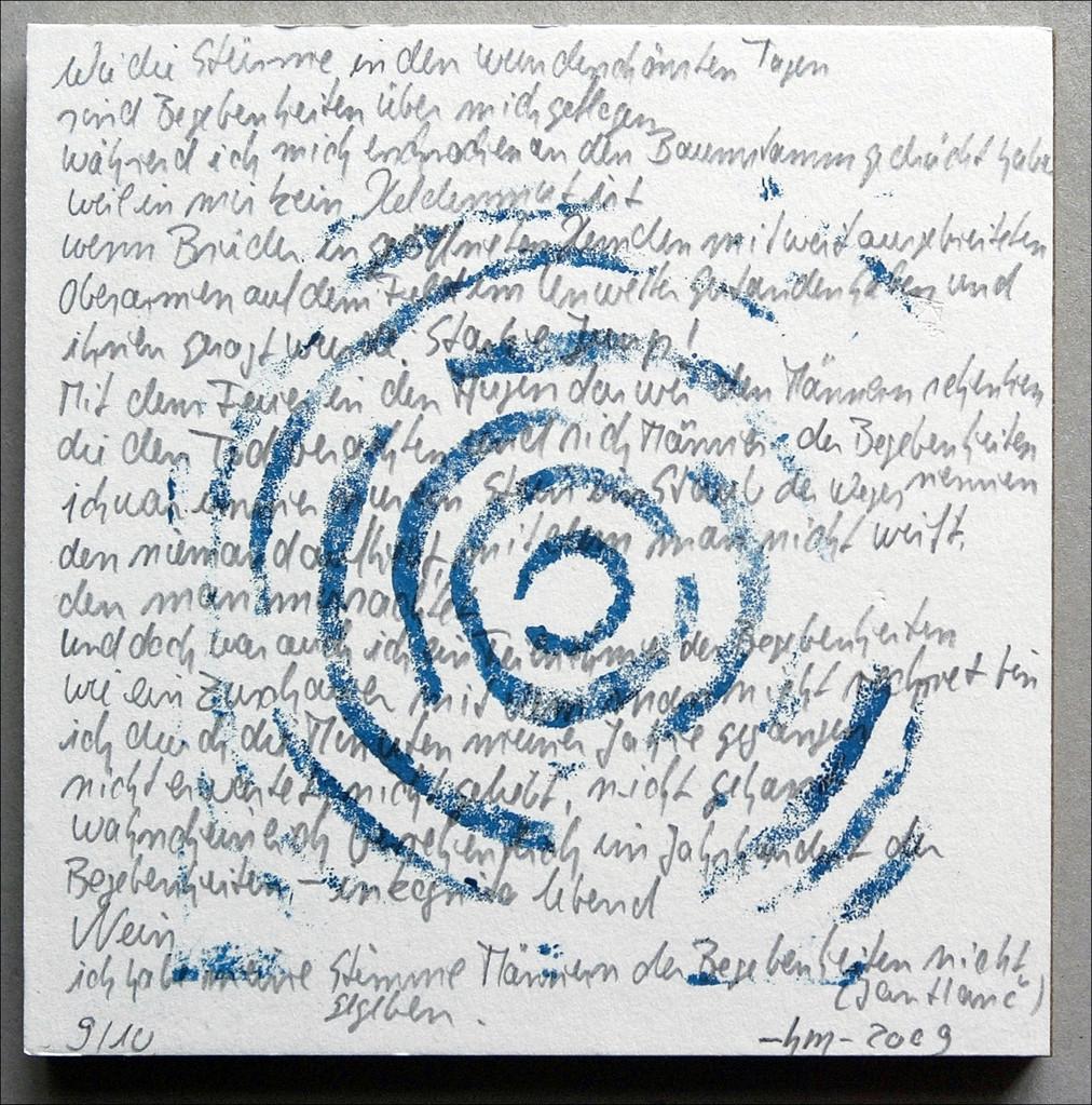 ohne Titel - 2009, Linoldruck, Bleistift auf Papier, Gedicht von Jan Hanc, 15 x 15 cm  (Multiple)