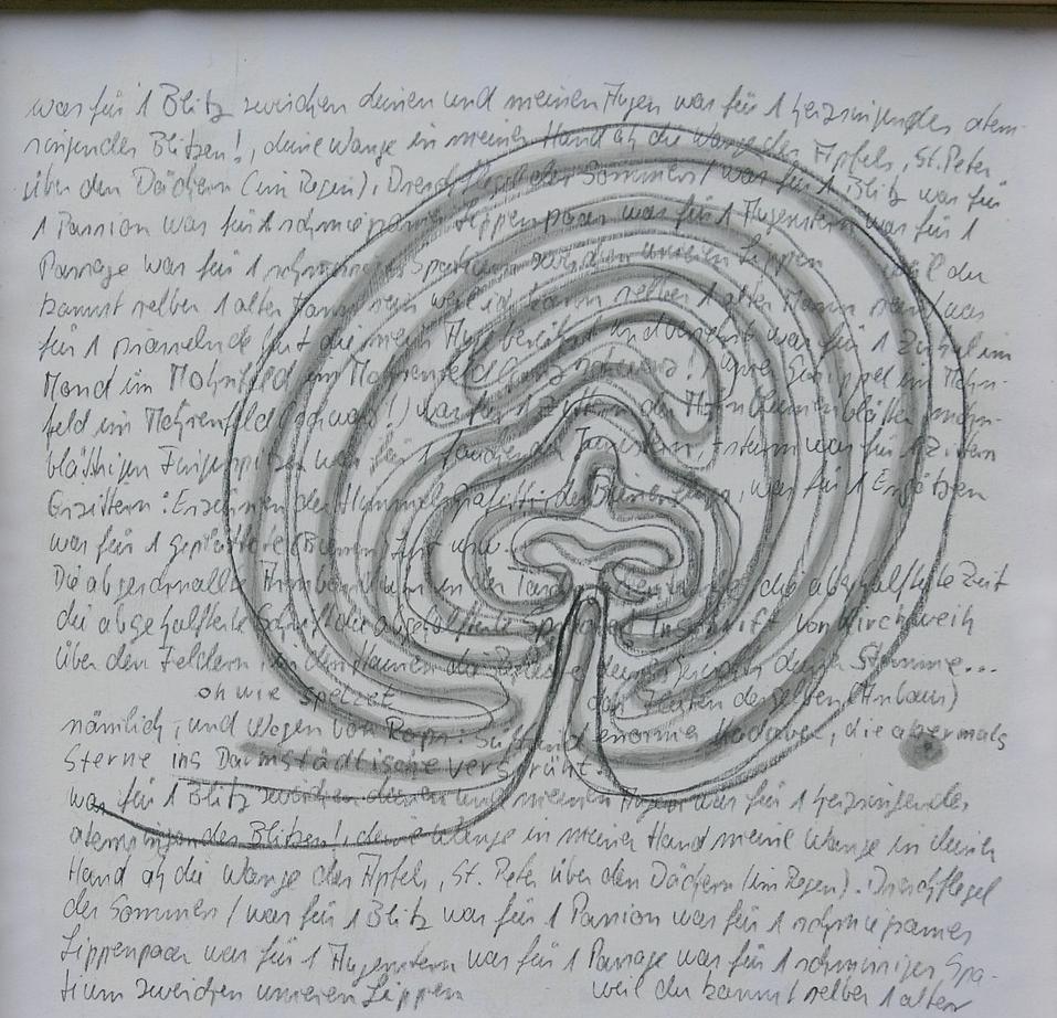 """Notizen - 2009, dreitieilige Serie, Bleistift, Tusche auf  Papier, 30 x 30 cm (Gedicht von Friederike Mayröcker aus """"Notizen auf einem Kamel"""")"""