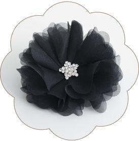 Haarblüte in Schwarz aus Seide mit Strass-Deko für Gala, Bälle, Hochzeiten, Feste, Oper...