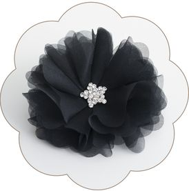 Festliche Haarblüte in Schwarz aus Seide mit Strass-Deko für Gala, Bälle, Hochzeiten, Feste, Oper...